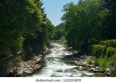 Sandanska Bistritsa River passing through town of Sandanski, Bulgaria
