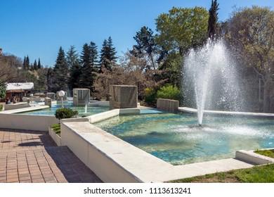 SANDANSKI, BULGARIA - APRIL 4, 2018: Spring view of Park St. Vrach in town of Sandanski, Bulgaria