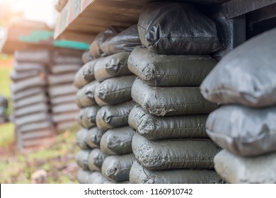Sandbag is beautifully arranged on the mountain,Sandbags to guard against attacks,Sandbag bunker of the old military bunker base.