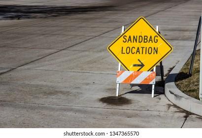 Sandbag Location Sign On Corner