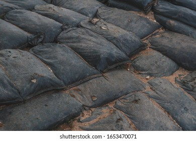 Sandbag for protecting the enemy from invading front line. Sandbag and bunker of the old military bunker base in border area used in war