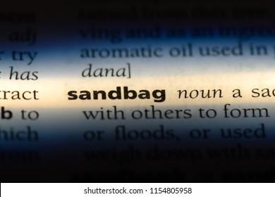 sandbag word in a dictionary. sandbag concept.