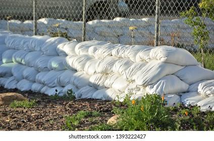 Sandbags around Perimeter of House.