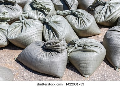 Sandbags for flood defense or military use on the city road