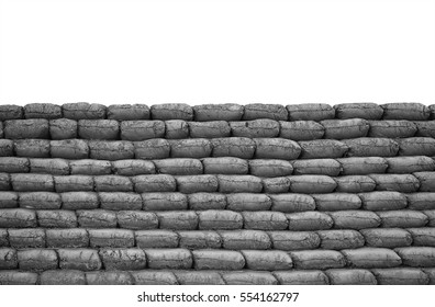 sandbags to guard against attacks isolated on white background. This has clipping path.