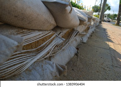 Sandbags placed in a line to flood