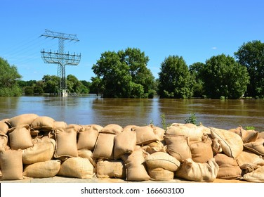 Sandbags to protect against the flood in Magdeburg