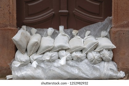 Sandbags for protection against flooding