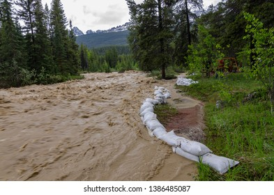 sandbags protection from raging river, sandbags doing there best