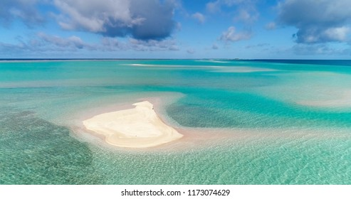 sandbank in a lagoon in aerial view