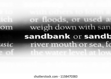 sandbank word in a dictionary. sandbank concept.