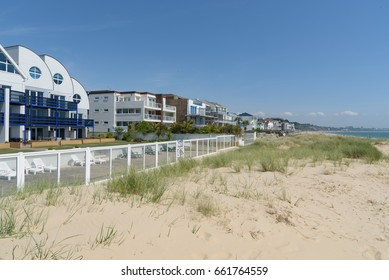 Sandbanks beach and seafront apartments