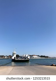 Sandbanks, Dorset, England April 20th  2018. Cars on the chain link ferry to Sandbanks from Studland Bay at the entrance to Poole harbour estuary.
