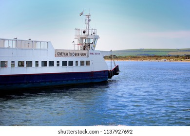 Sandbanks, Dorset, England - June 02 2018: The Sandbanks Chain Ferry, Bramble Bush Bay, which crosses the entrance of Poole Harbour