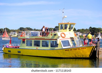Sandbanks, Dorset, England - June 02 2018: The Brownsea Island Ferry, Maid of the Islands, about to depart from the Sandbanks side of Poole Harbour