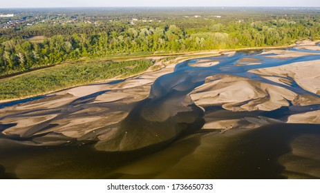 sandbanks on the Vistula River photographed from a drone - Shutterstock ID 1736650733