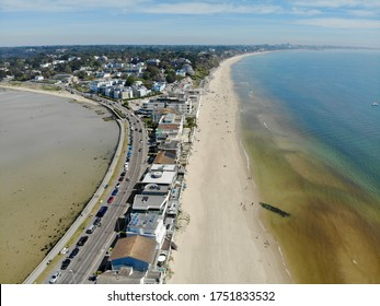 Sandbanks / Poole Harbour beach by air with Bournemouth in distance