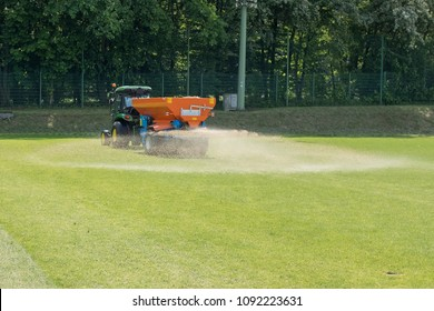 Sandblasting of football field