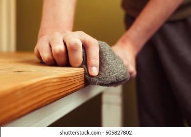 Sandblasting the wood