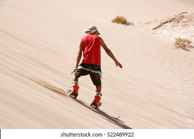 Sandboarding in San Pedro de Atacama, Chile, South America