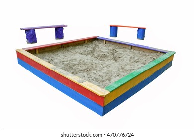 Sandbox and two benches on white background