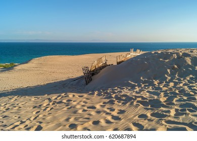 Sandbreak or sand fence at the Valdevaqueros dune, Tarifa, Spain
