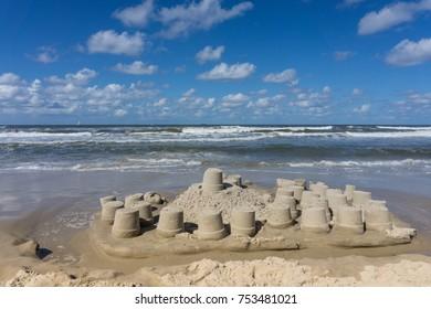 sandcastle at the beach of isla wangerooge