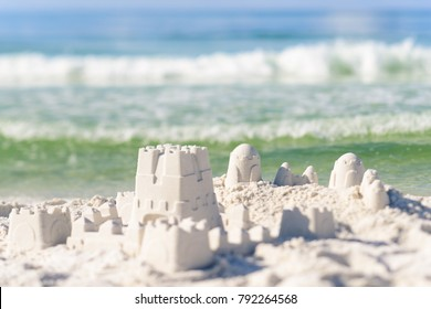 Sandcastle on Florida beach with white sand
