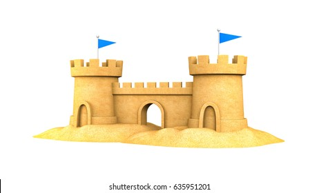 Sandcastle on the seaside. 3d illustration