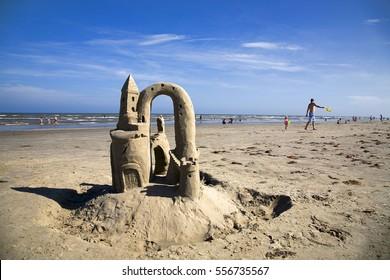 sandcastles beachcombing beaches summer MUSTANG ISLAND, TX