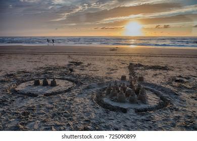 Sandcastles on beach in Bloemendaal aan Zee