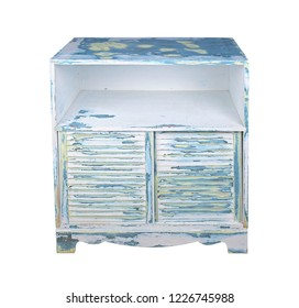 Sanded, pld painted cabinet in yellow, blue, green and antique black with louvered, wood panels as doors isolated on white