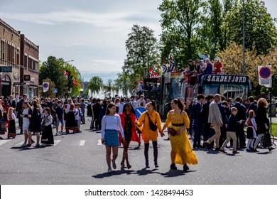 Sandefjord, Norway - may 17. 2019: Norwegian independece day celebration
