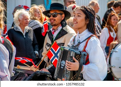 Sandefjord, Vestfold, Norway, may 17.2018.: Norwegian independence day celebration and street parade