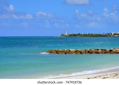 Sanders Beach in Nassau, Bahamas. In the background is the Coral World underwater observation platform.