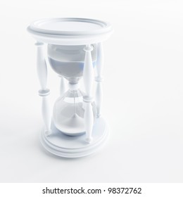 Sand-glass counts time on a white background
