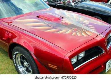 Sandhurst, Surrey, UK - June 18th 2017: Bonnet of a Pontiac Firebird Trans Am TA  6.6 at an auto show