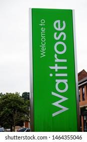 Sandhurst, United Kingdom, 28th July 2019:- A branch of Waitrose supermarket. Waitrose is seen as a higher end supermaket