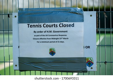 Sandhurst, United Kingdom, 9th April 2020:- Signs explaining the closure Sandhurst Tennis club's tennis courts on advice from the British Government due to the Covid-19 outbreak