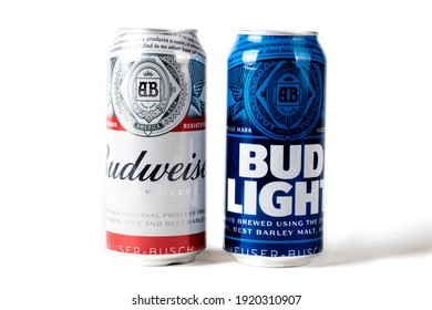 Sandhurst, United Kingdom; February 13th 2021:- A can of Bud Light and Budweiser isolated on a white background