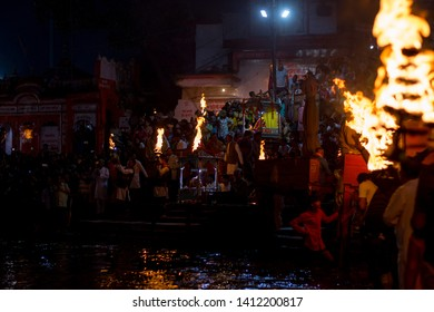 Sandhya Aarti,Haridwar Every evening priest perform sandhya(evening) aarti of river Ganga People from various parts of India and even from abroad come for aarti.  Haridwar, India, October 10 2018