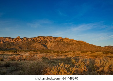 Sandia mountain range with blue sky
