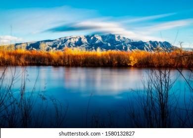 Sandia Mountains from the Bosque near Bernalillo,NM
