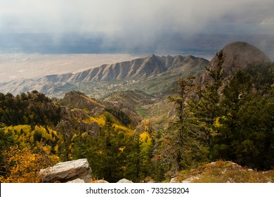 Sandia Mountains in Fall Fog from the North Crest Trail