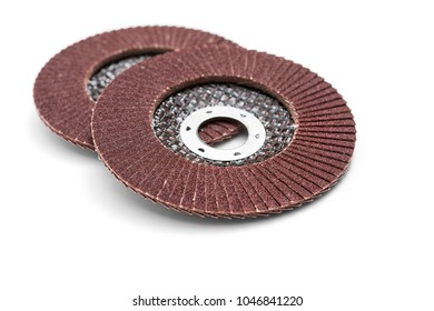 Sanding discs for angle grinder on white background, including clipping path