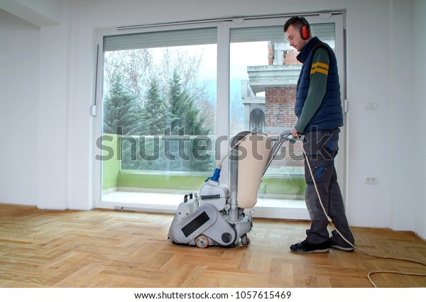 Sanding Hardwood Floor Grinding Machine Repair Stock Photo