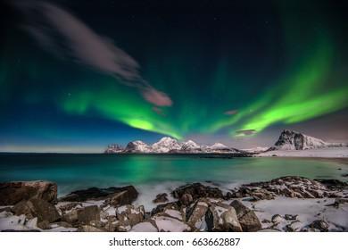 "From Sandnes in Flakstad,Lofoten islands,"" Aurora borealis"""