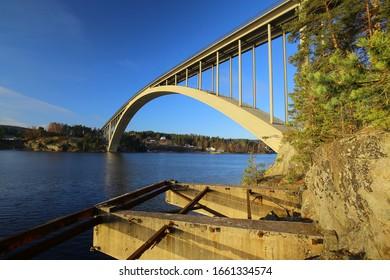 Sando bridge over Angerman river in Sweden.