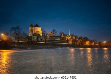 Sandomierz at night, view of the castle and church