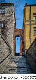 SANDOMIERZ, POLAND - APRIL 16, 2019: View to the The Dominican Gate, also called the Needle Eye (PL: Ucho Igielne), is the last existing gate in Sandomierz's defensive flies in old tow?'s center